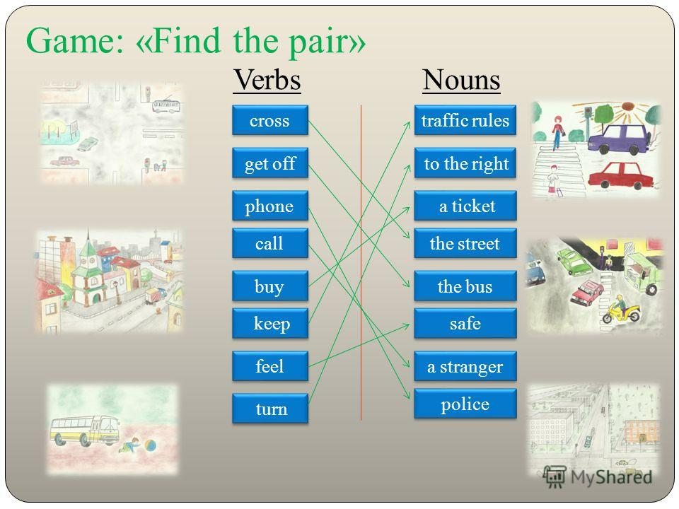 Game: «Find the pair» Verbs Nouns cross get off phone call buy keep feel turn traffic rules to the right a ticket the street the bus safe a stranger police