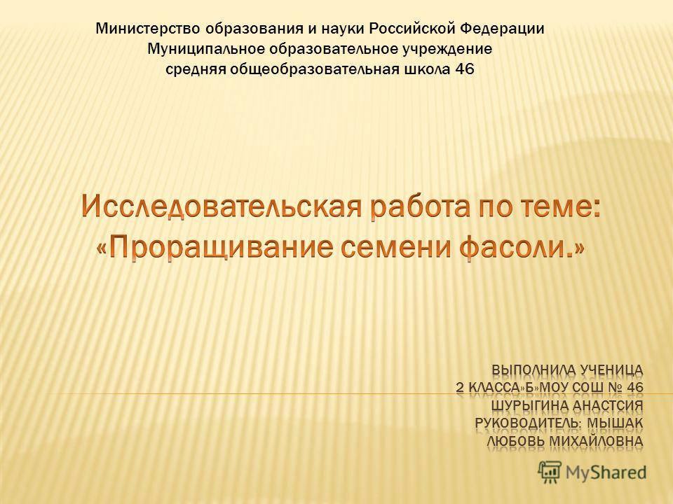Министерство образования и науки Российской Федерации Муниципальное образовательное учреждение средняя общеобразовательная школа 46