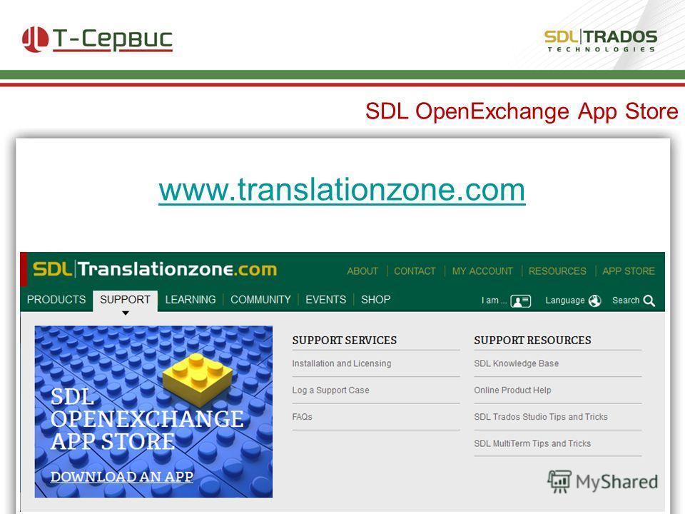 SDL OpenExchange App Store www.translationzone.com