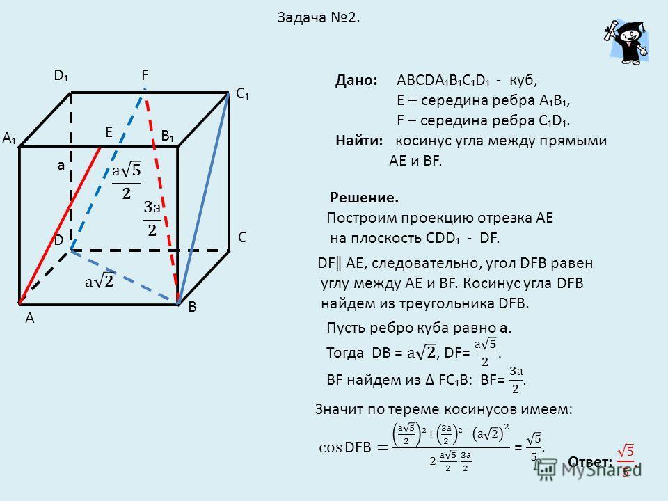 Задача 2. Дано: АВСDАВСD - куб, Е – середина ребра АВ, F – середина ребра СD. Найти: косинус угла между прямыми АЕ и ВF. D С D B C Е F А В А Решение. Построим проекцию отрезка АЕ на плоскость СDD - DF. DFǁ АЕ, следовательно, угол DFВ равен углу между