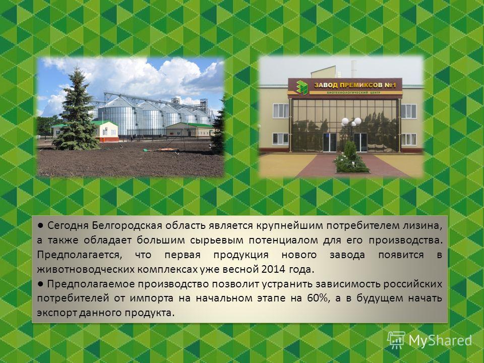 Сегодня Белгородская область является крупнейшим потребителем лизина, а также обладает большим сырьевым потенциалом для его производства. Предполагается, что первая продукция нового завода появится в животноводческих комплексах уже весной 2014 года.