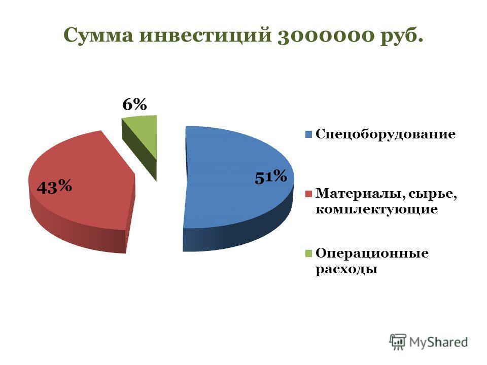 Сумма инвестиций 3000000 руб.