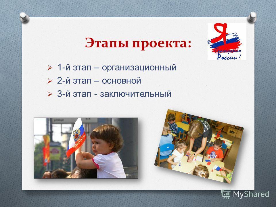 Этапы проекта: 1- й этап – организационный 2- й этап – основной 3- й этап - заключительный