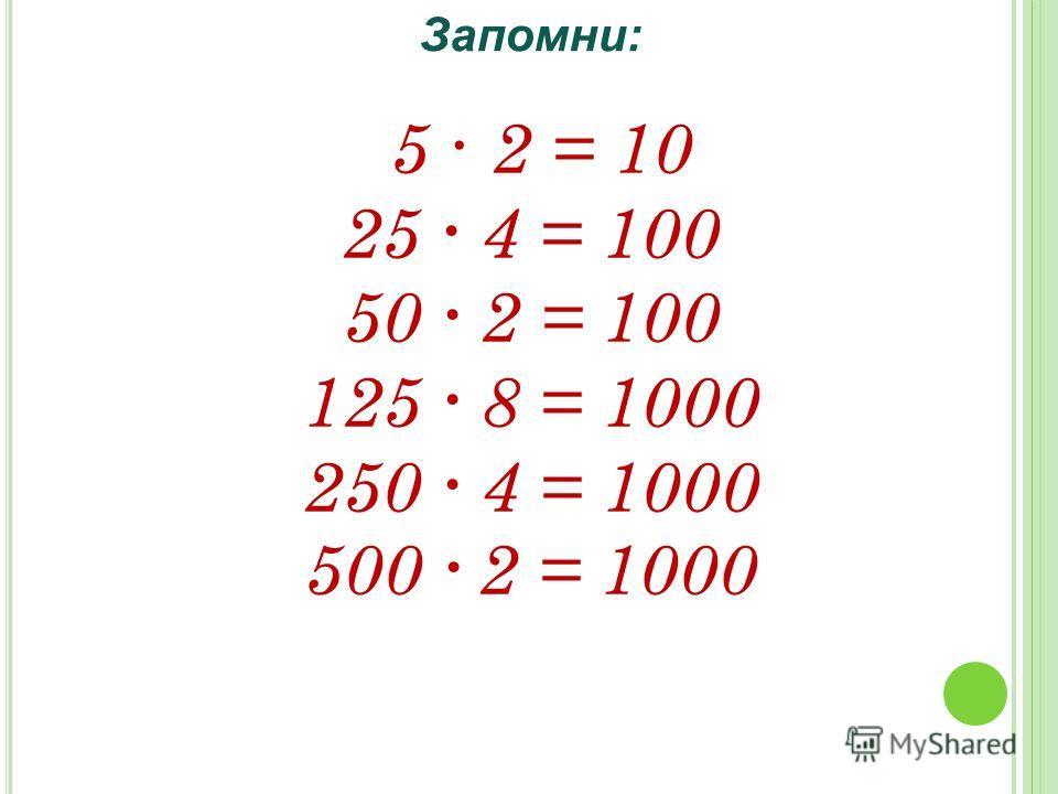 5 · 2 = 10 25 4 = 100 50 2 = 100 125 8 = 1000 250 4 = 1000 500 2 = 1000 Запомни: