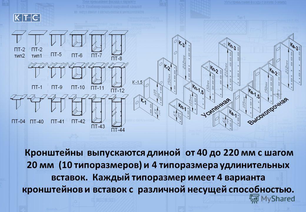 Кронштейны выпускаются длиной от 40 до 220 мм с шагом 20 мм (10 типоразмеров) и 4 типоразмера удлинительных вставок. Каждый типоразмер имеет 4 варианта кронштейнов и вставок с различной несущей способностью.
