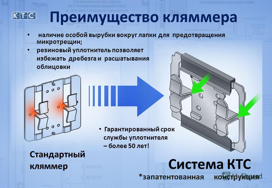 наличие особой вырубки вокруг лапки для предотвращения микротрещин; резиновый уплотнитель позволяет избежать дребезга и расшатывания облицовки Стандартный кляммер Система КТС *запатентованная конструкция Преимущество кляммера Гарантированный срок слу