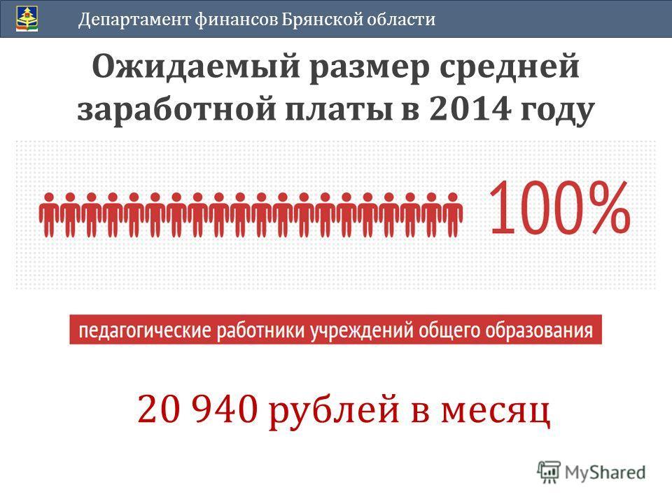 Ожидаемый размер средней заработной платы в 2014 году Департамент финансов Брянской области 20 940 рублей в месяц