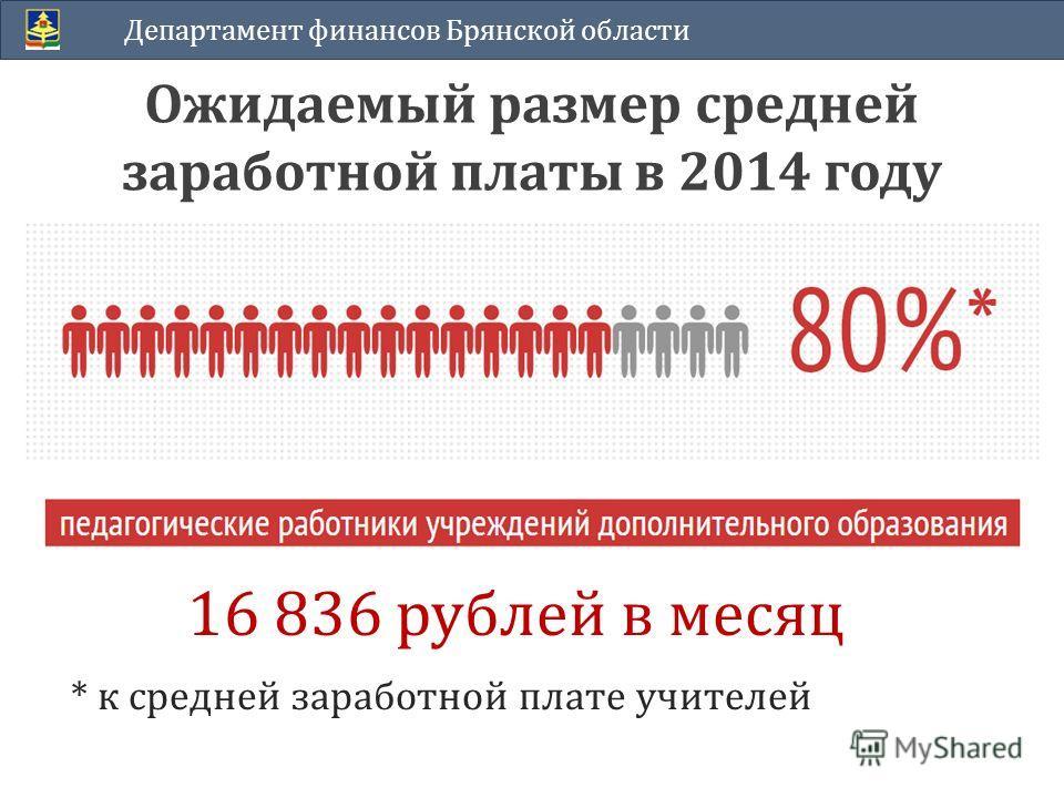 Ожидаемый размер средней заработной платы в 2014 году Департамент финансов Брянской области 16 836 рублей в месяц * к средней заработной плате учителей
