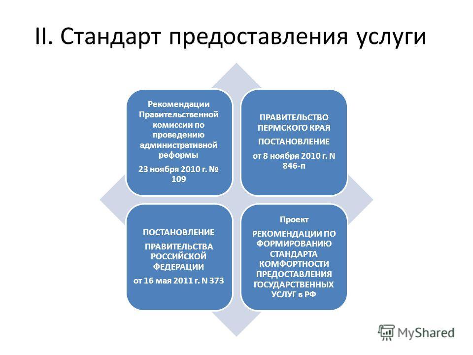 II. Стандарт предоставления услуги Рекомендации Правительственной комиссии по проведению административной реформы 23 ноября 2010 г. 109 ПРАВИТЕЛЬСТВО ПЕРМСКОГО КРАЯ ПОСТАНОВЛЕНИЕ от 8 ноября 2010 г. N 846-п ПОСТАНОВЛЕНИЕ ПРАВИТЕЛЬСТВА РОССИЙСКОЙ ФЕДЕ