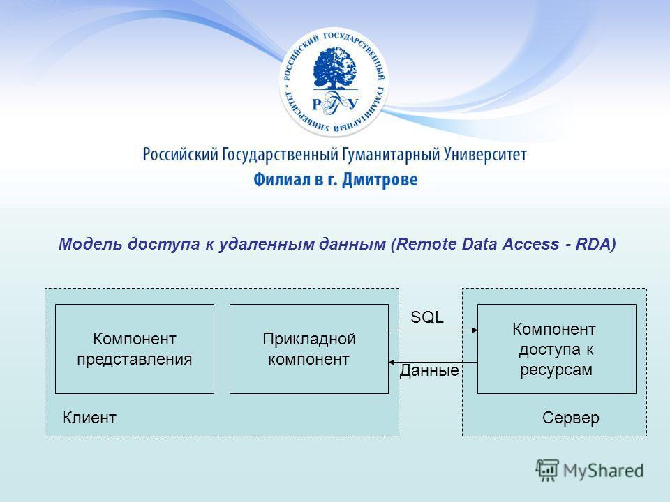 Модель доступа к удаленным данным (Remote Data Access - RDA) Компонент представления Прикладной компонент Компонент доступа к ресурсам SQL Данные СерверКлиент