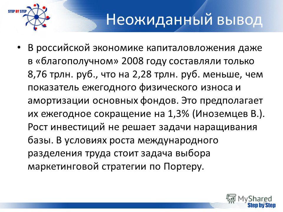 Неожиданный вывод 6 В российской экономике капиталовложения даже в «благополучном» 2008 году составляли только 8,76 трлн. руб., что на 2,28 трлн. руб. меньше, чем показатель ежегодного физического износа и амортизации основных фондов. Это предполагае