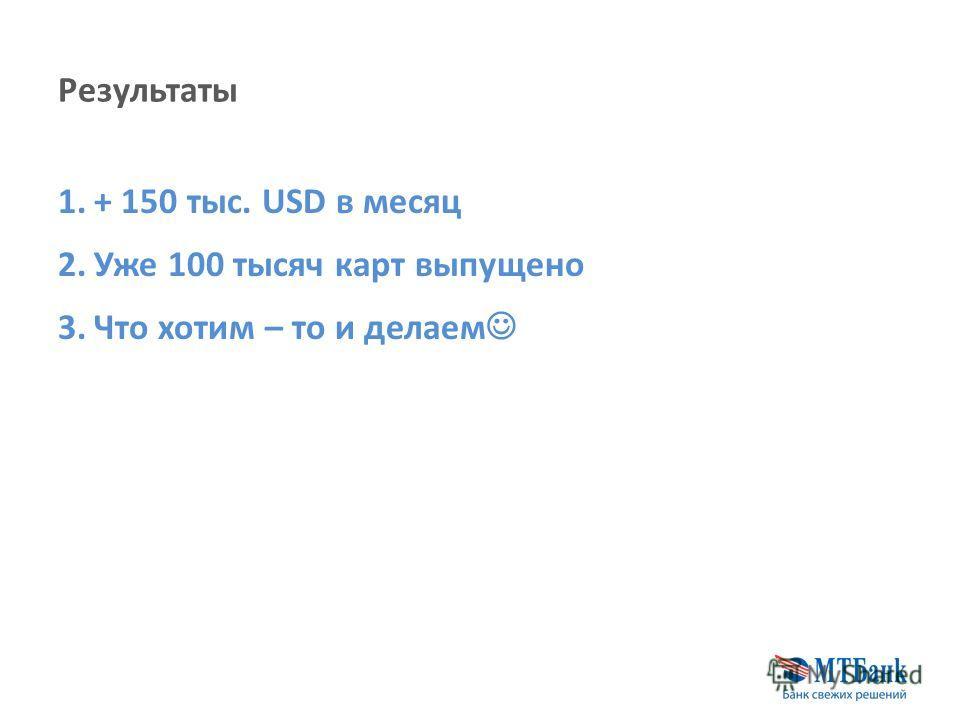Результаты 1.+ 150 тыс. USD в месяц 2.Уже 100 тысяч карт выпущено 3.Что хотим – то и делаем