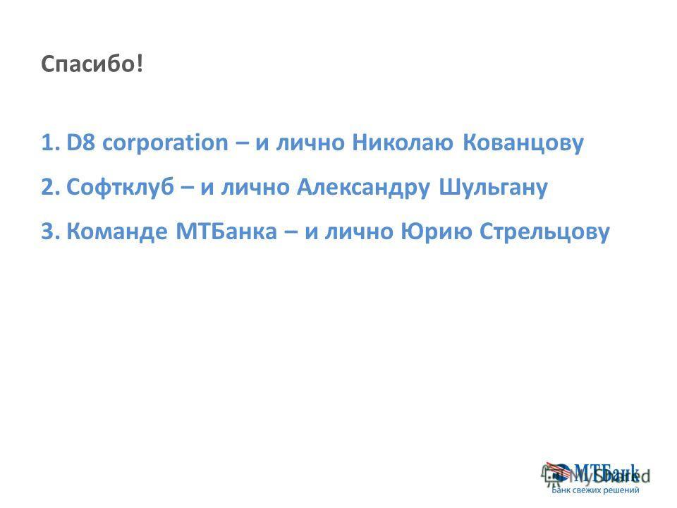 Спасибо! 1.D8 corporation – и лично Николаю Кованцову 2.Софтклуб – и лично Александру Шульгану 3.Команде МТБанка – и лично Юрию Стрельцову