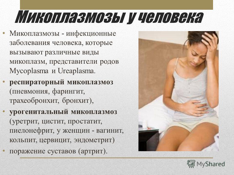 Микоплазмозы у человека Микоплазмозы - инфекционные заболевания человека, которые вызывают различные виды микоплазм, представители родов Mycoplasma и Ureaplasma. респираторный микоплазмоз (пневмония, фарингит, трахеобронхит, бронхит), урогенитальный