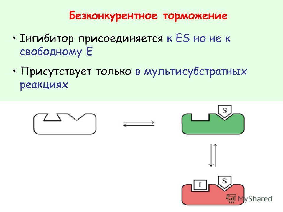 Безконкурентное торможение Інгибитор присоединяется к ES но не к свободному E Присутствует только в мультисубстратных реакциях