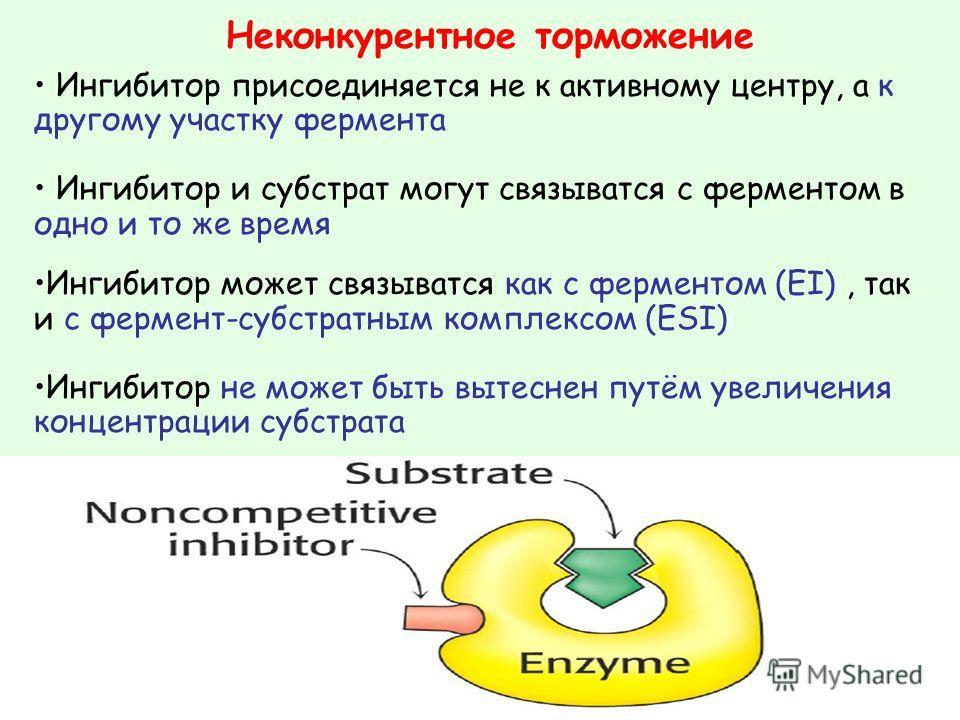 Ингибитор присоединяется не к активному центру, а к другому участку фермента Ингибитор и субстрат могут связыватся с ферментом в одно и то же время Ингибитор может связыватся как с ферментом (EI), так и с фермент-субстратным комплексом (ESI) Ингибито