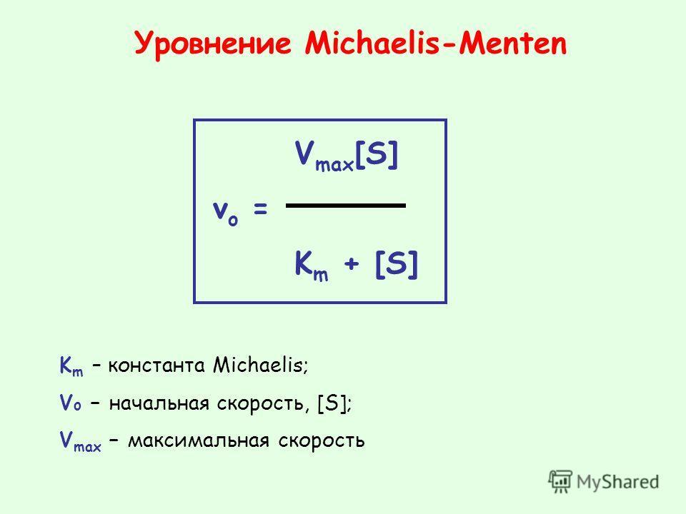 V max [S] v o = K m + [S] Уровнение Michaelis-Menten K m – константа Michaelis; V o – начальная скорость, [S]; V max – максимальная скорость