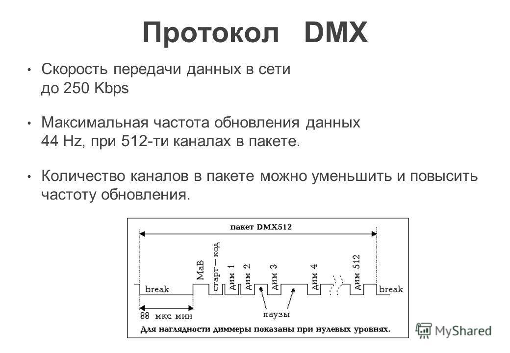 Протокол DMX Скорость передачи данных в сети до 250 Kbps Максимальная частота обновления данных 44 Hz, при 512-ти каналах в пакете. Количество каналов в пакете можно уменьшить и повысить частоту обновления.