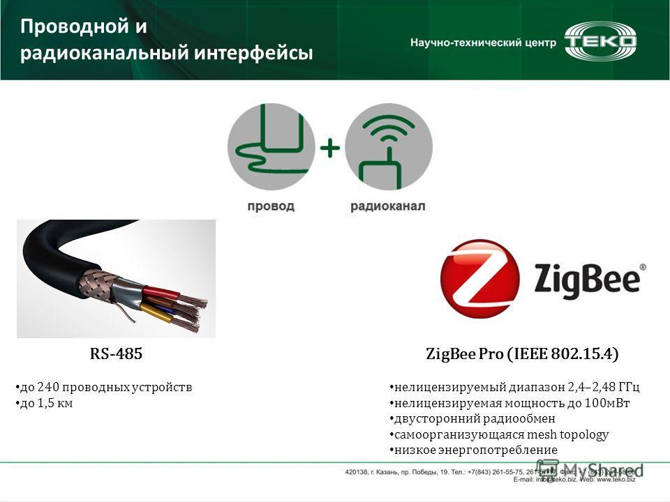 Проводной и радиоканальный интерфейсы RS-485 до 240 проводных устройств до 1,5 км ZigBee Pro (IEEE 802.15.4) нелицензируемый диапазон 2,4–2,48 ГГц нелицензируемая мощность до 100мВт двусторонний радиообмен cамоорганизующаяся mesh topology низкое энер