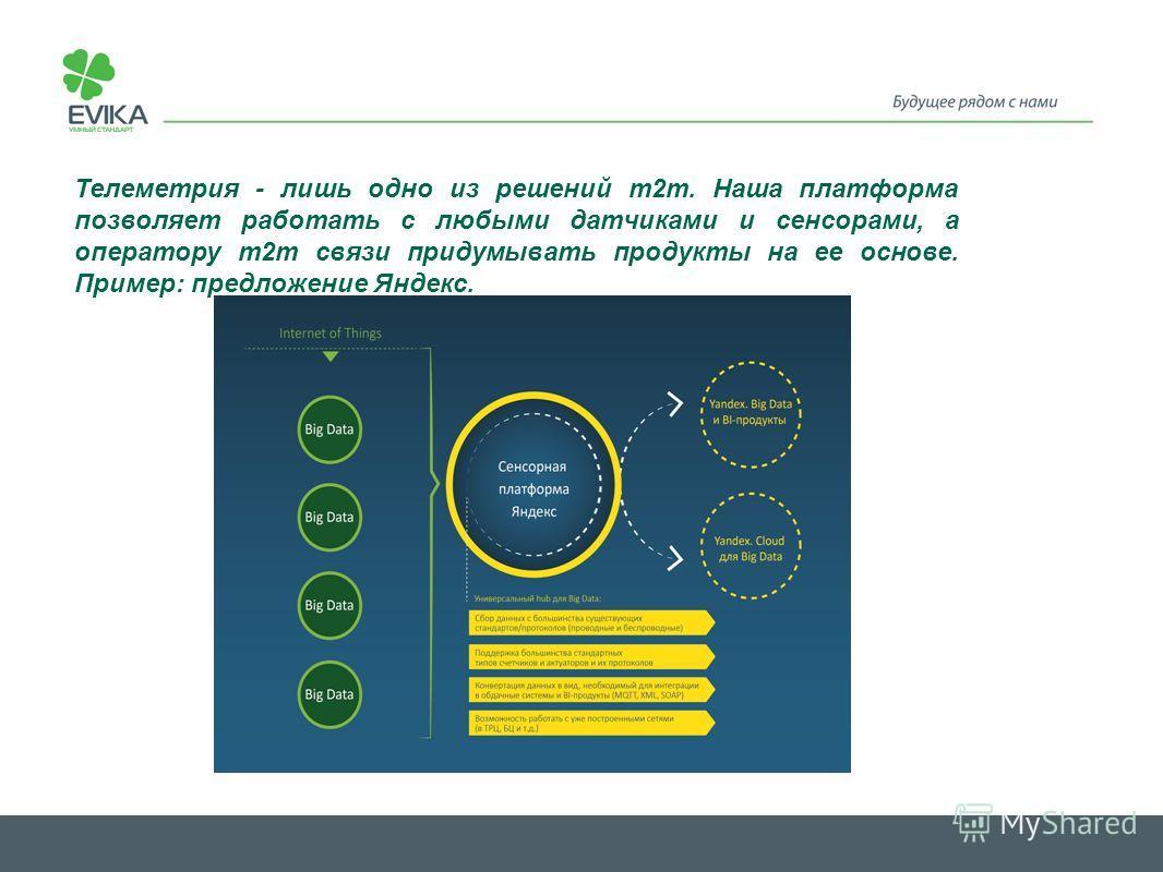 Телеметрия - лишь одно из решений m2m. Наша платформа позволяет работать с любыми датчиками и сенсорами, а оператору m2m связи придумывать продукты на ее основе. Пример: предложение Яндекс.