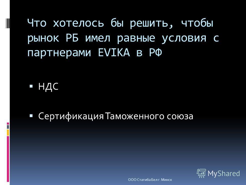 Что хотелось бы решить, чтобы рынок РБ имел равные условия с партнерами EVIKA в РФ НДС Сертификация Таможенного союза ООО Статиба Бел г. Минск