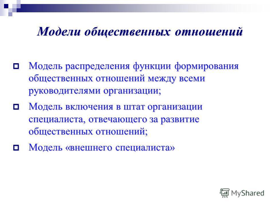 Модели общественных отношений Модель распределения функции формирования общественных отношений между всеми руководителями организации; Модель распределения функции формирования общественных отношений между всеми руководителями организации; Модель вкл