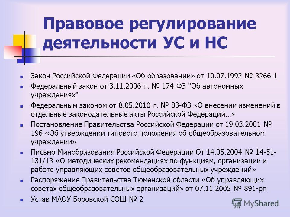 Правовое регулирование деятельности УС и НС Закон Российской Федерации «Об образовании» от 10.07.1992 3266-1 Федеральный закон от 3.11.2006 г. 174-ФЗ