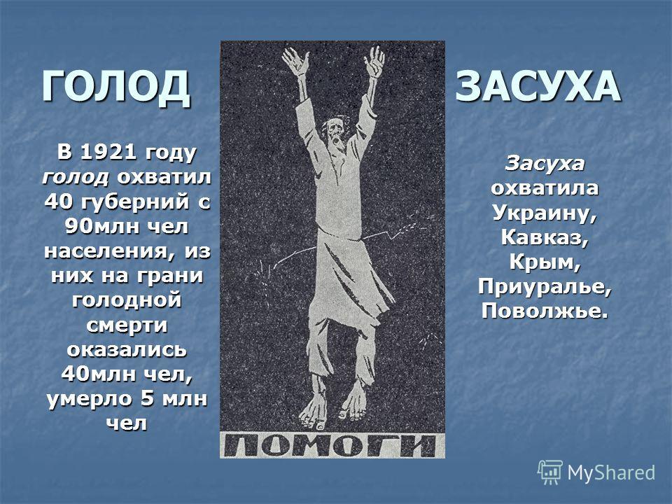 ГОЛОД ЗАСУХА В 1921 году голод охватил 40 губерний с 90млн чел населения, из них на грани голодной смерти оказались 40млн чел, умерло 5 млн чел Засуха охватила Украину, Кавказ, Крым, Приуралье, Поволжье.