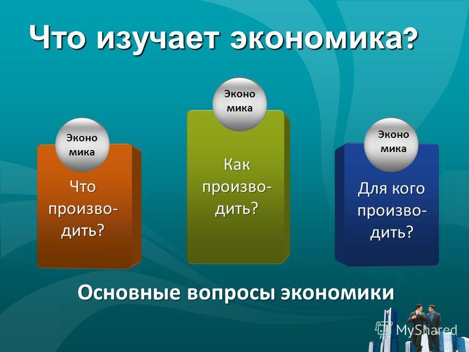 Что изучает экономика ? Основные вопросы экономики Эконо мика Как произво- дить? Для кого произво- дить? Эконо мика Эконо мика Что произво- дить?