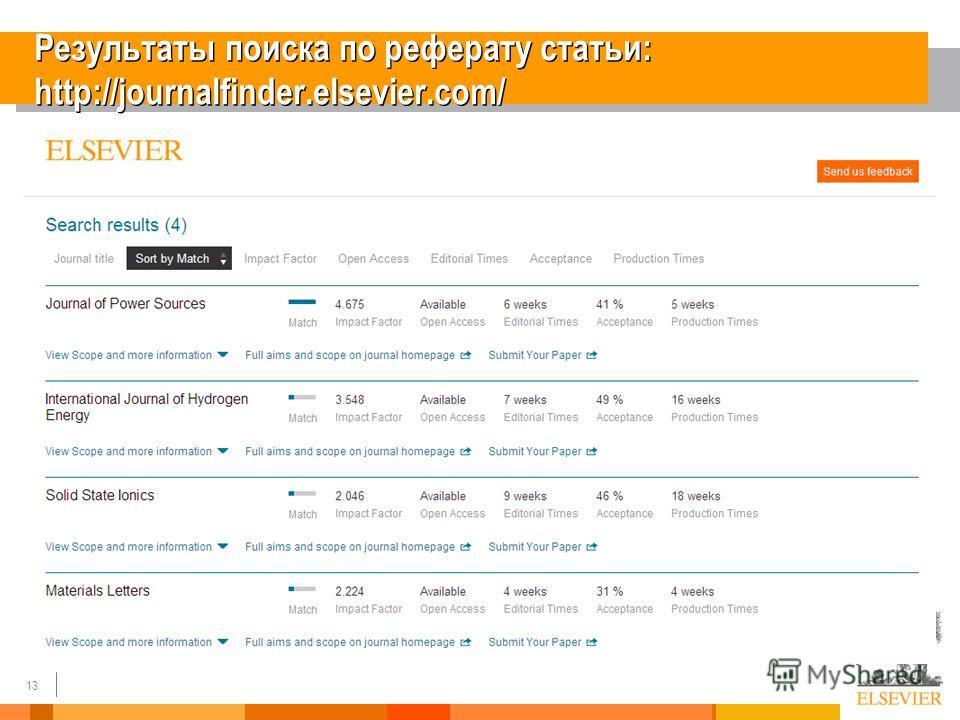 13 Результаты поиска по реферату статьи: http://journalfinder.elsevier.com/