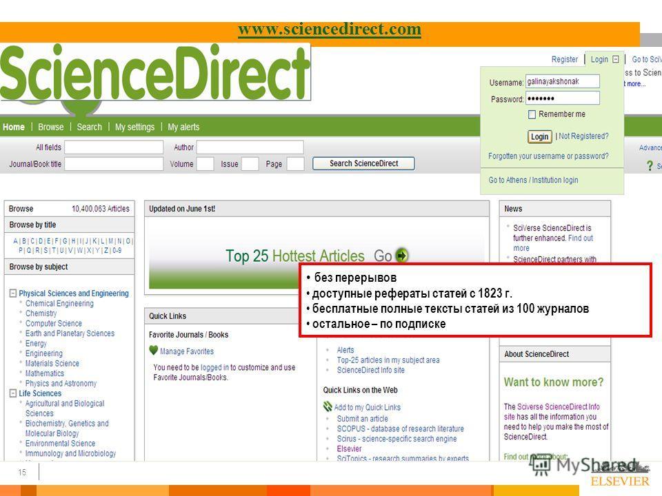 15 www.sciencedirect.com без перерывов доступные рефераты статей с 1823 г. бесплатные полные тексты статей из 100 журналов остальное – по подписке
