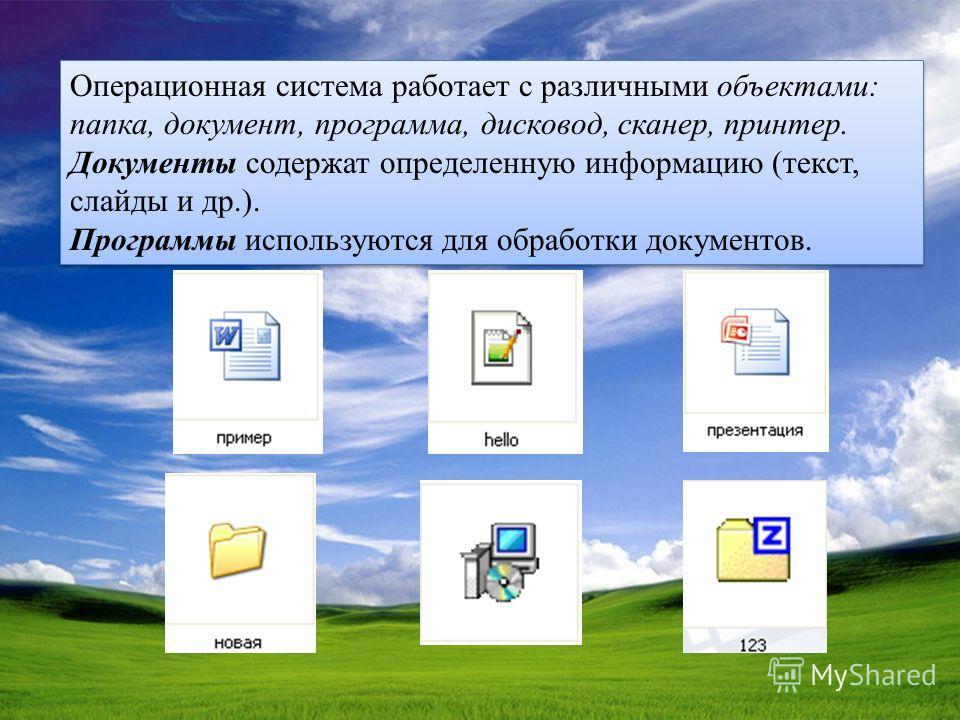 Операционная система работает с различными объектами: папка, документ, программа, дисковод, сканер, принтер. Документы содержат определенную информацию (текст, слайды и др.). Программы используются для обработки документов. Операционная система работ