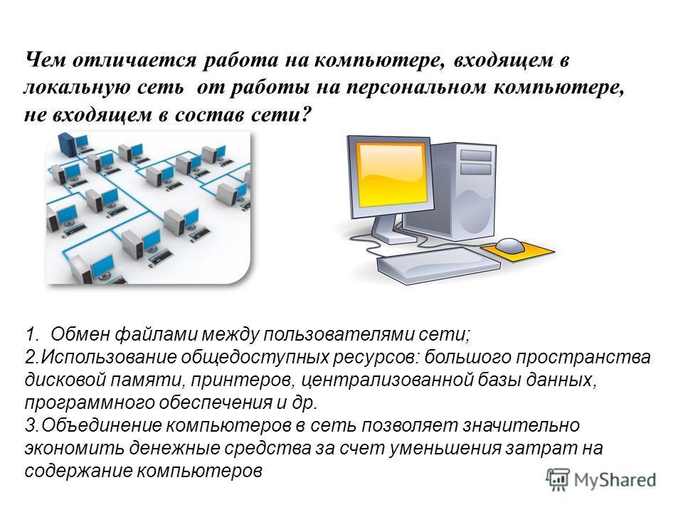 Чем отличается работа на компьютере, входящем в локальную сеть от работы на персональном компьютере, не входящем в состав сети? 1.Обмен файлами между пользователями сети; 2.Использование общедоступных ресурсов: большого пространства дисковой памяти,