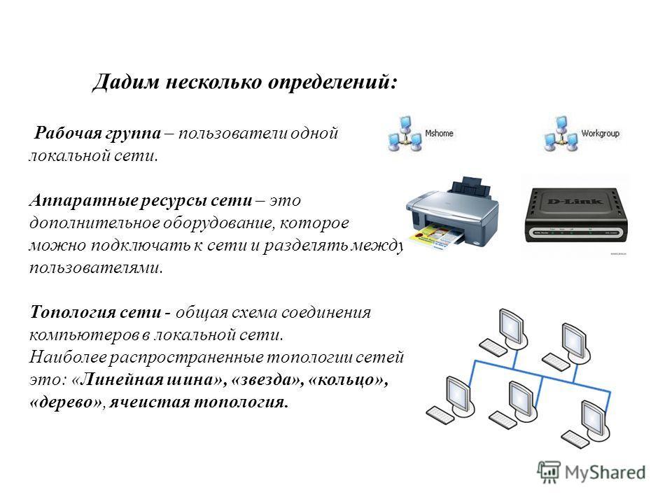 Дадим несколько определений: Рабочая группа – пользователи одной локальной сети. Аппаратные ресурсы сети – это дополнительное оборудование, которое можно подключать к сети и разделять между пользователями. Топология сети - общая схема соединения комп