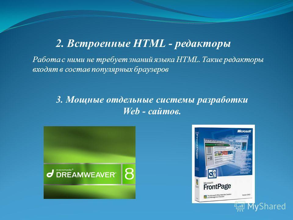 Работа с ними не требует знаний языка НТМL. Такие редакторы входят в состав популярных браузеров 2. Встроенные HTML - редакторы 3. Мощные отдельные системы разработки Web - сайтов.