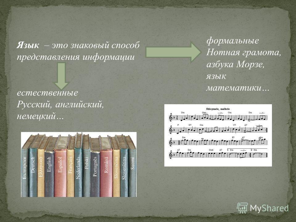 Язык – это знаковый способ представления информации естественные Русский, английский, немецкий… формальные Нотная грамота, азбука Морзе, язык математики…