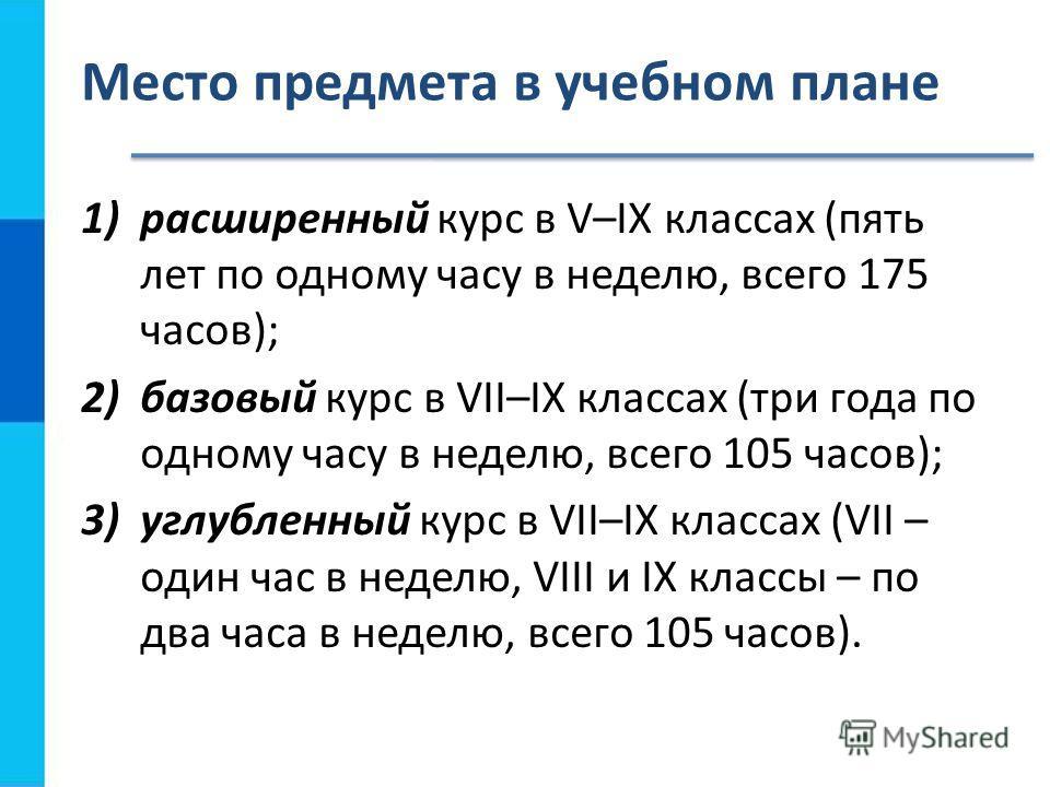 Место предмета в учебном плане 1)расширенный курс в V–IX классах (пять лет по одному часу в неделю, всего 175 часов); 2)базовый курс в VII–IX классах (три года по одному часу в неделю, всего 105 часов); 3)углубленный курс в VII–IX классах (VII – один