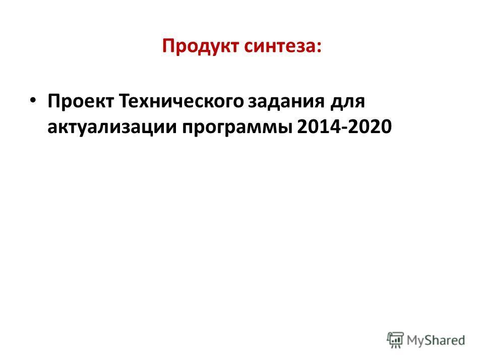 Продукт синтеза: Проект Технического задания для актуализации программы 2014-2020