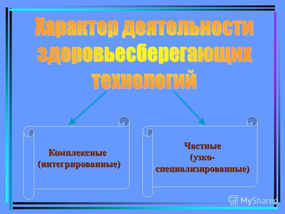 Комплексные(интегрированные)Частные(узко-специализированные)