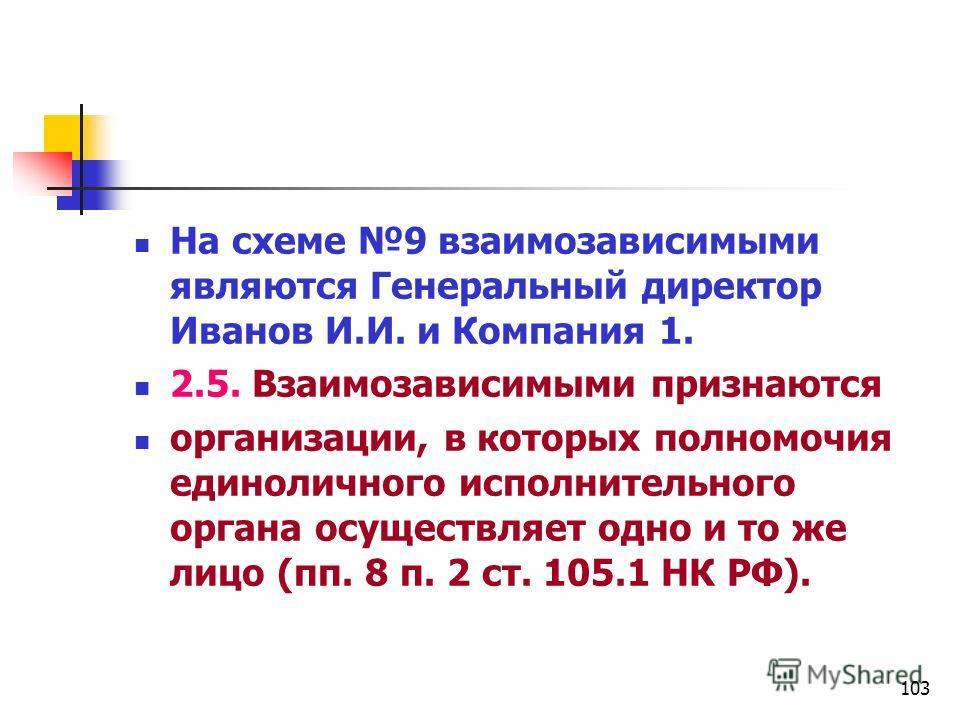 103 На схеме 9 взаимозависимыми являются Генеральный директор Иванов И.И. и Компания 1. 2.5. Взаимозависимыми признаются организации, в которых полномочия единоличного исполнительного органа осуществляет одно и то же лицо (пп. 8 п. 2 ст. 105.1 НК РФ)