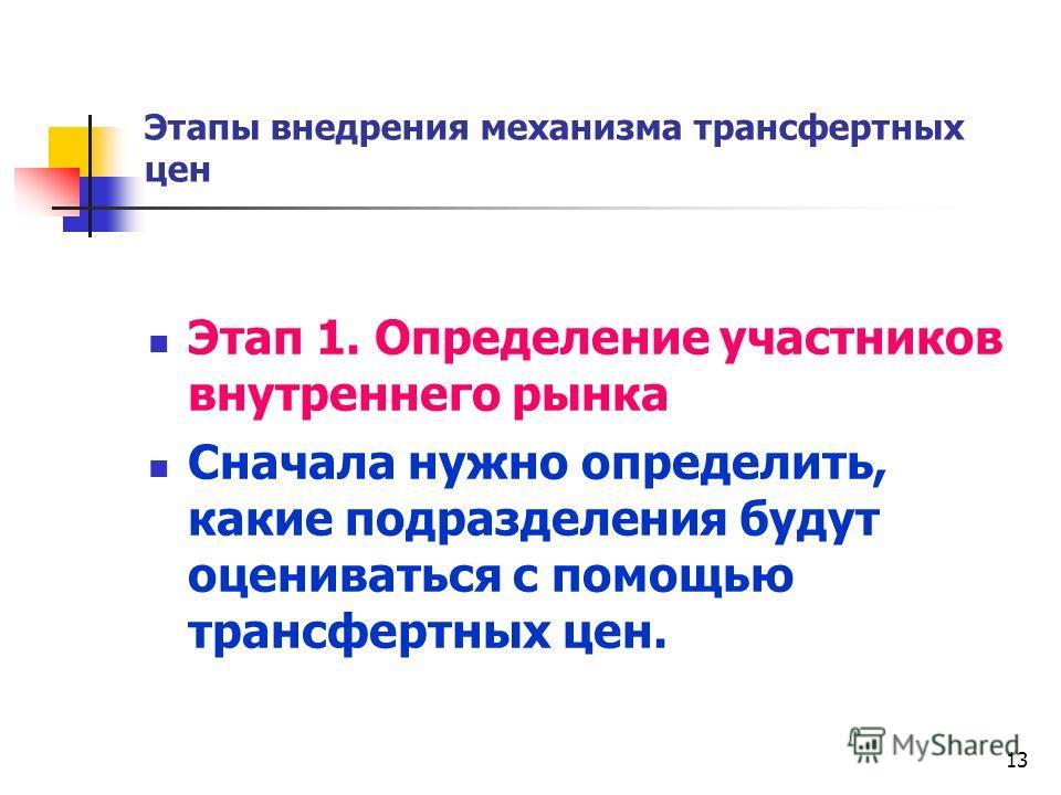13 Этапы внедрения механизма трансфертных цен Этап 1. Определение участников внутреннего рынка Сначала нужно определить, какие подразделения будут оцениваться с помощью трансфертных цен.