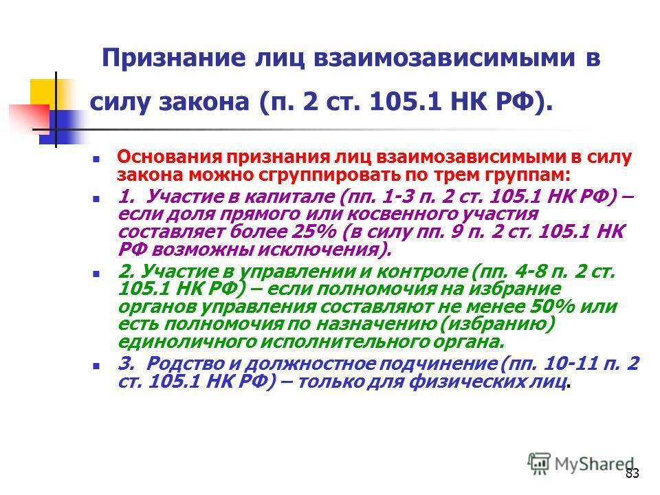 83 Признание лиц взаимозависимыми в силу закона (п. 2 ст. 105.1 НК РФ). Основания признания лиц взаимозависимыми в силу закона можно сгруппировать по трем группам: 1. Участие в капитале (пп. 1-3 п. 2 ст. 105.1 НК РФ) – если доля прямого или косвенног