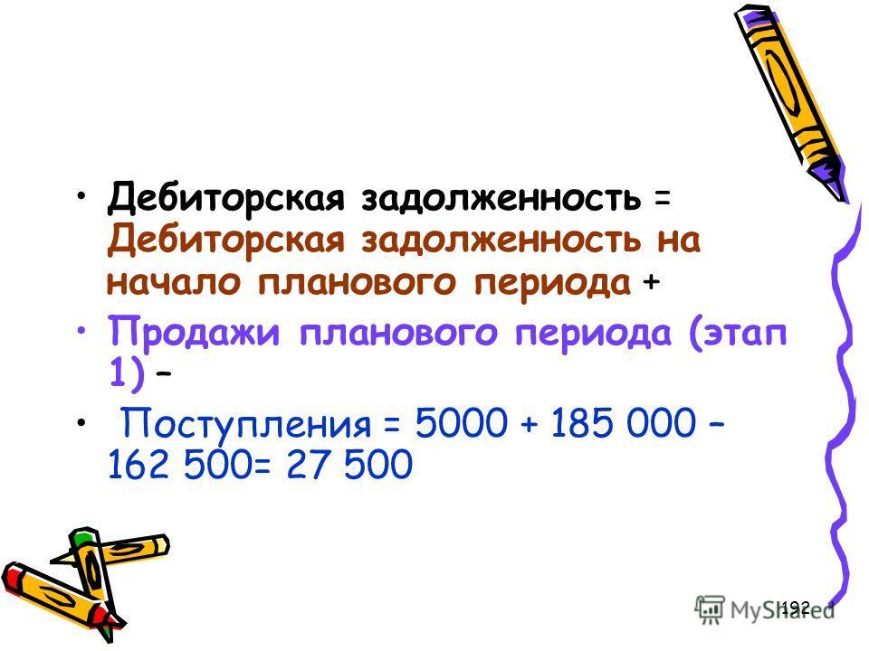 192 Дебиторская задолженность = Дебиторская задолженность на начало планового периода + Продажи планового периода (этап 1) – Поступления = 5000 + 185 000 – 162 500= 27 500