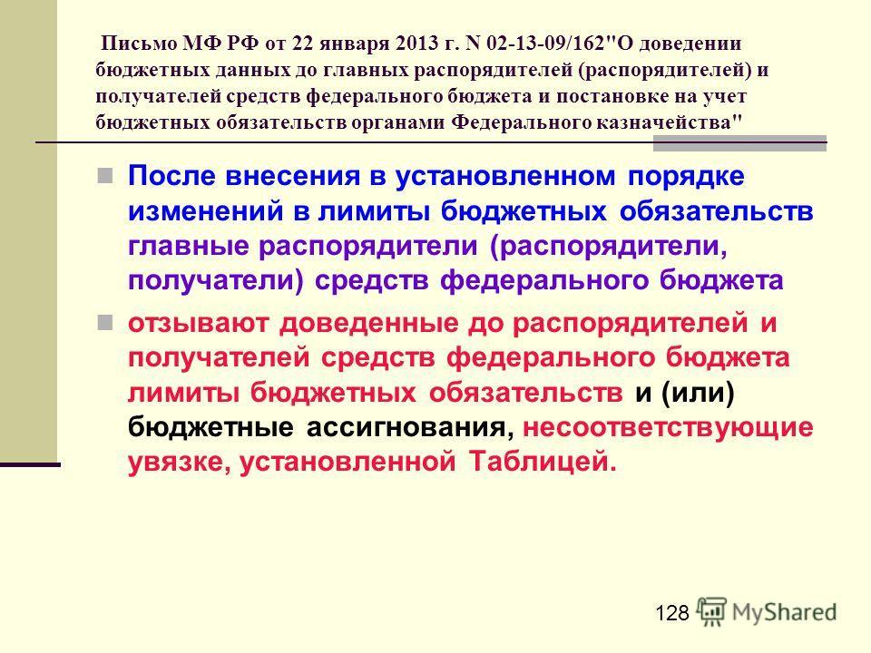 128 Письмо МФ РФ от 22 января 2013 г. N 02-13-09/162