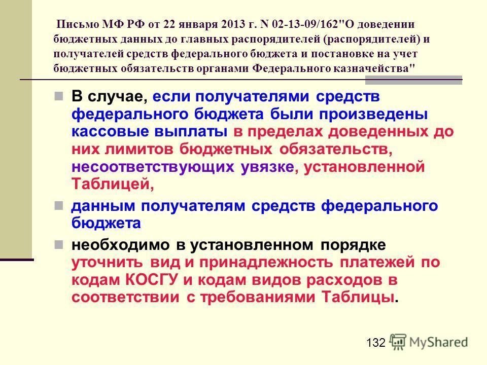 132 Письмо МФ РФ от 22 января 2013 г. N 02-13-09/162