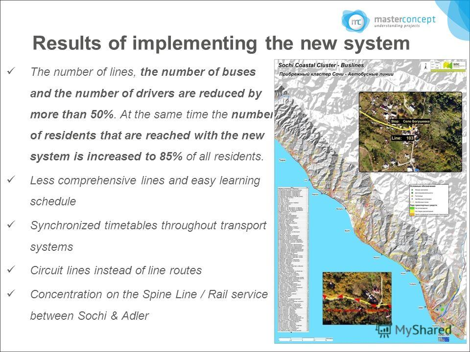 Results of implementing the new system The number of lines, the number of buses and the number of drivers are reduced by more than 50%. At the same time the number of residents that are reached with the new system is increased to 85% of all residents