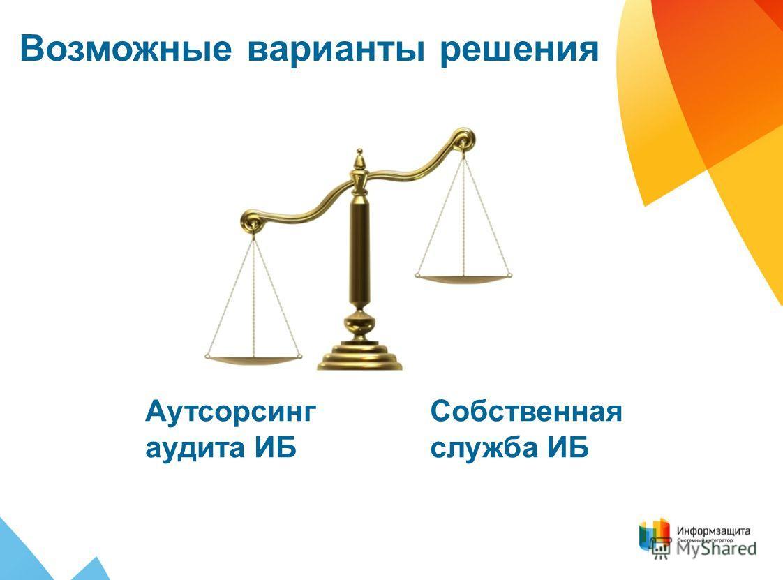 Собственная служба ИБ Возможные варианты решения Аутсорсинг аудита ИБ