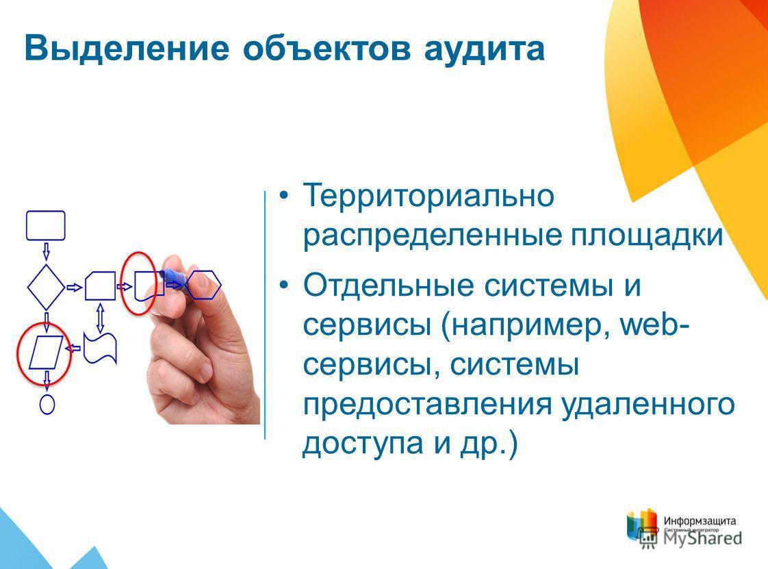 Выделение объектов аудита Территориально распределенные площадки Отдельные системы и сервисы (например, web- сервисы, системы предоставления удаленного доступа и др.)