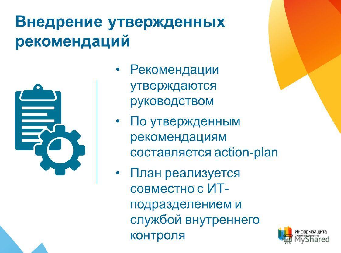 Внедрение утвержденных рекомендаций Рекомендации утверждаются руководством По утвержденным рекомендациям составляется action-plan План реализуется совместно с ИТ- подразделением и службой внутреннего контроля