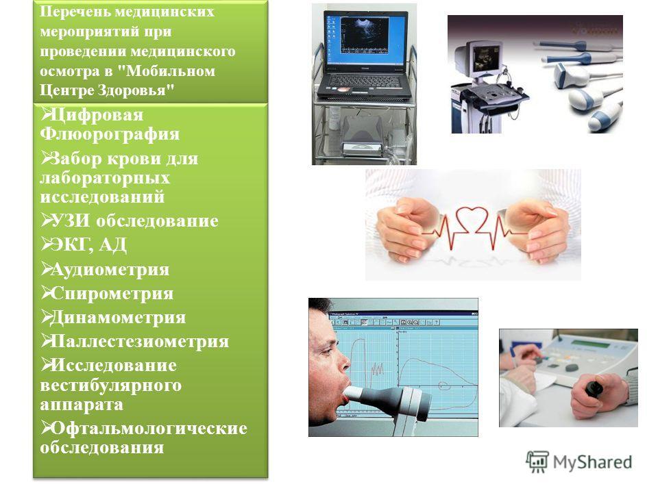 Перечень медицинских мероприятий при проведении медицинского осмотра в